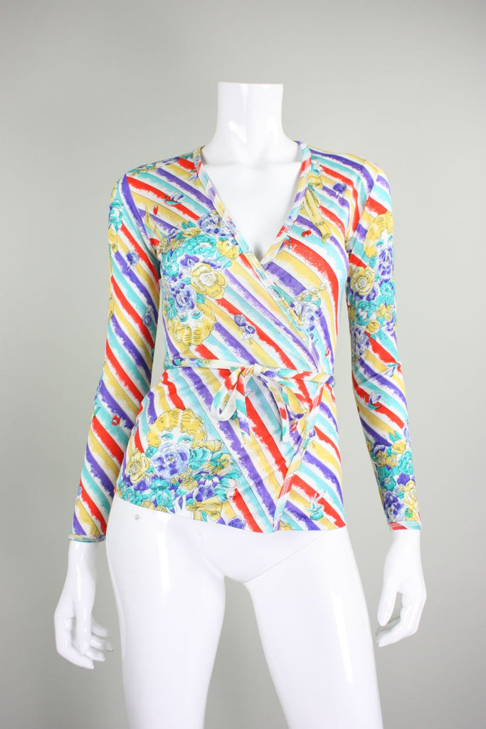 1970's Wrap Top with Figural Print in Bold Hues Vintage - regenerationvintageclothing