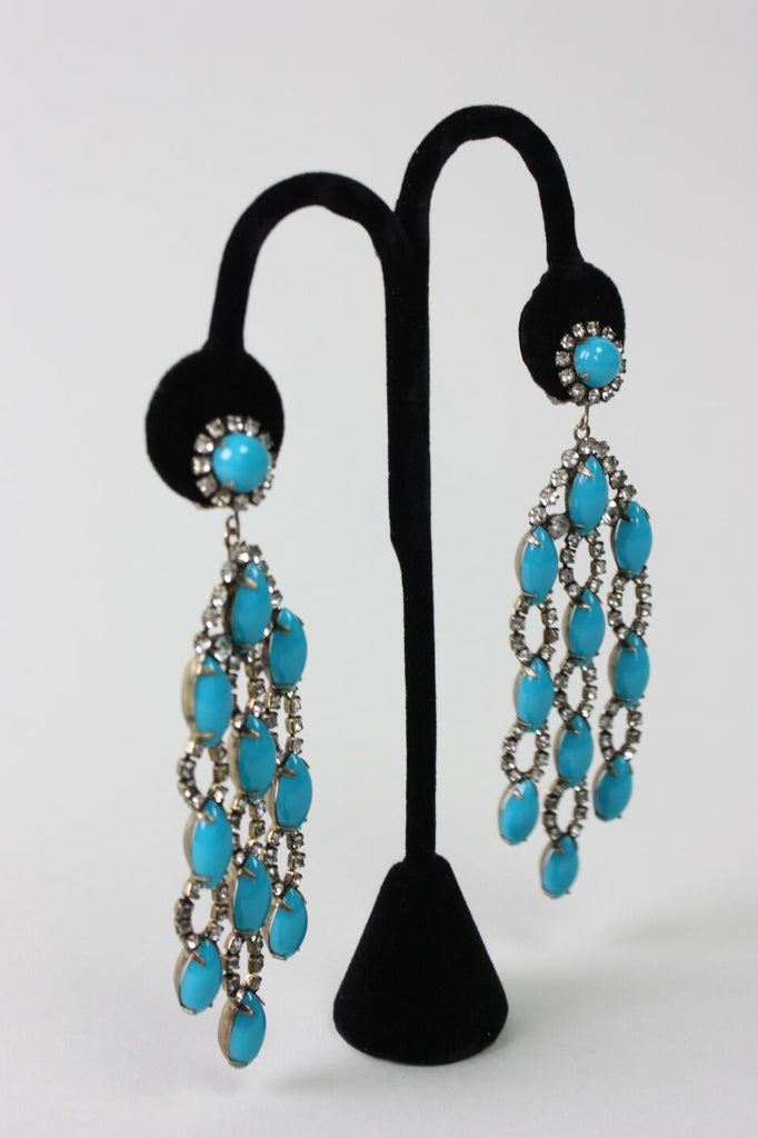 Vintage 1960's Kenneth Jay Lane Faux Turquoise Dangle Earrings