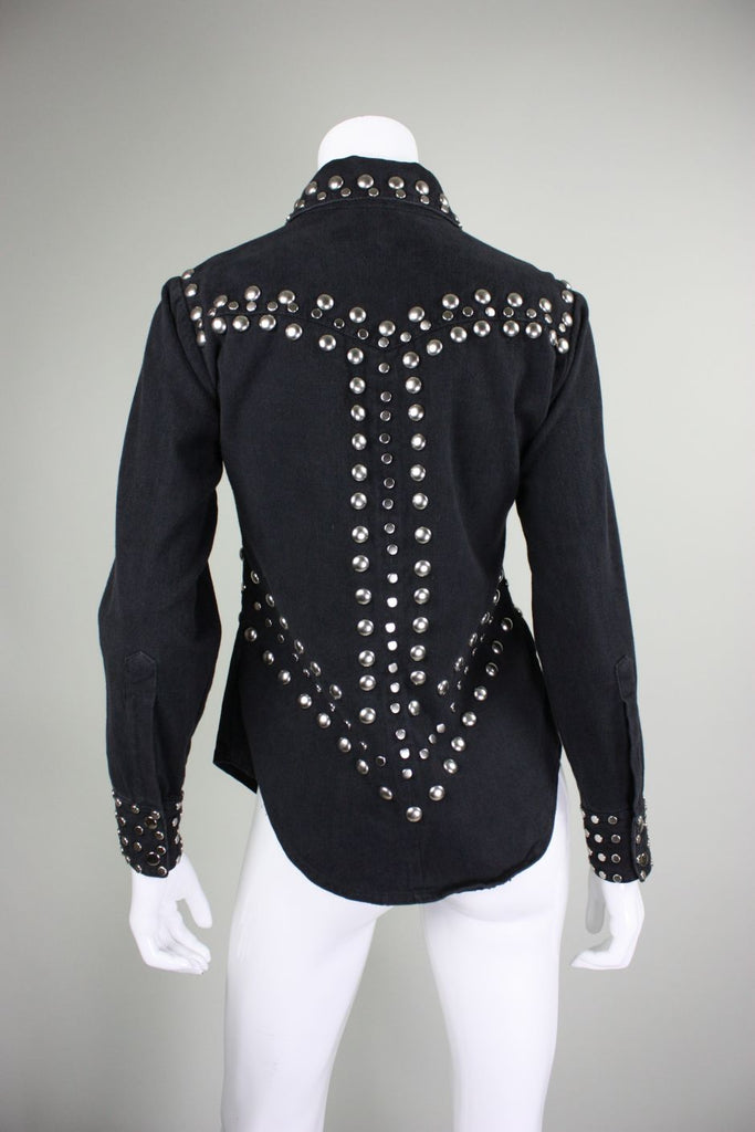 1970's Blouse Allie Flynn for Evan Roberts with Silver Studs - regenerationvintageclothing