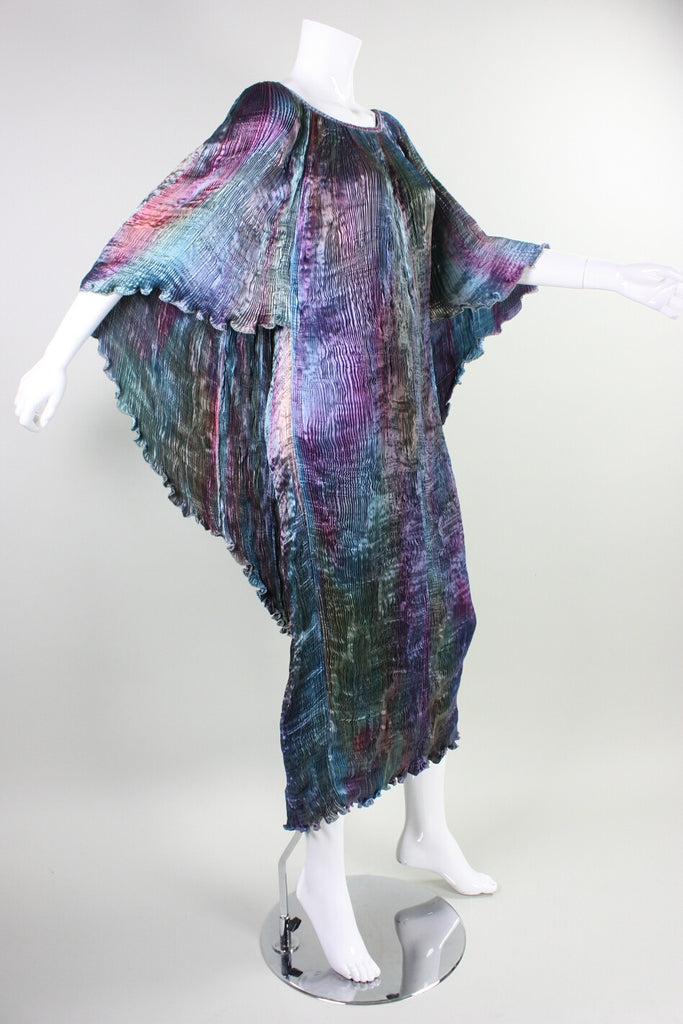 Patricia Lester Dress Pleated Silk with Attached Cape Vintage - regenerationvintageclothing