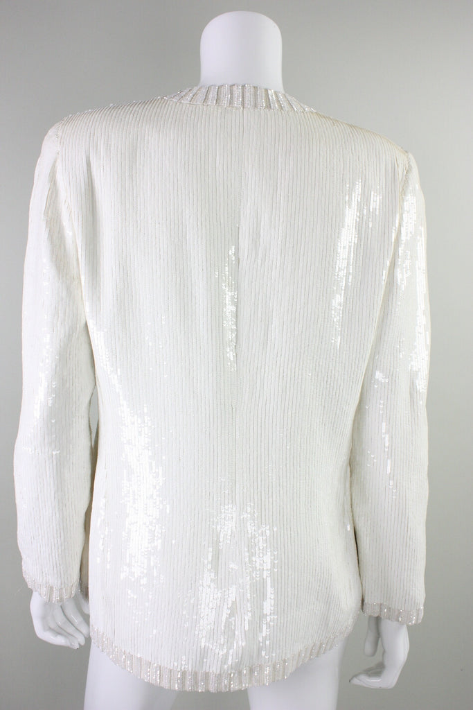 Vintage 1980's Bill Blass White Sequined Jacket