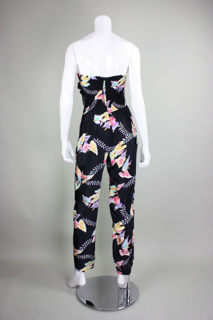 1980's Jumpsuit with Tropical Floral Print - regenerationvintageclothing
