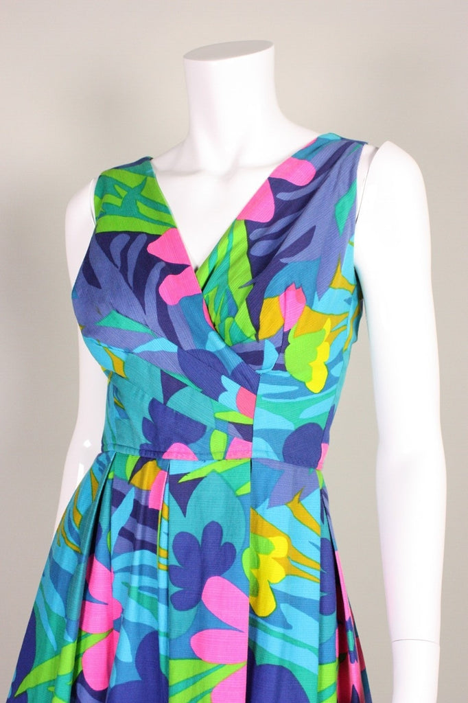 1960's Dress Blue Floral Hawaiian Vintage - regenerationvintageclothing