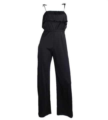 1970's Jumpsuit Black Jersey with Ruffled Bust