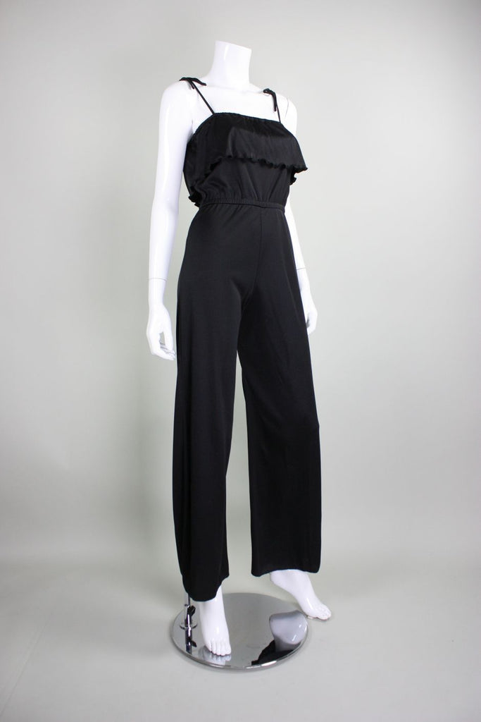 1970's Jumpsuit Black Jersey with Ruffled Bust - regenerationvintageclothing