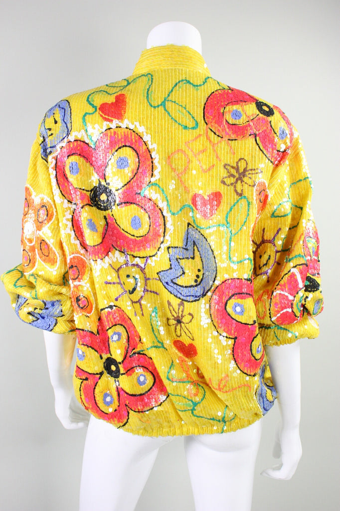 1980's Bomber Jacket Embellished Sequined Silk Vintage - regenerationvintageclothing