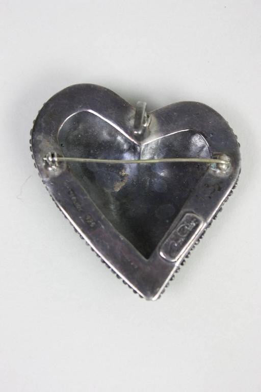 Anne Pratt Brooch Sterling Silver Heart or Pendant Vintage - regenerationvintageclothing