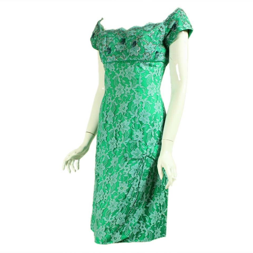 Vintage Dresses - Vintage 1950's Green Lace Sequined Cocktail Dress