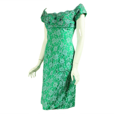 1950's Cocktail Dress Green Lace Sequined Vintage - regenerationvintageclothing
