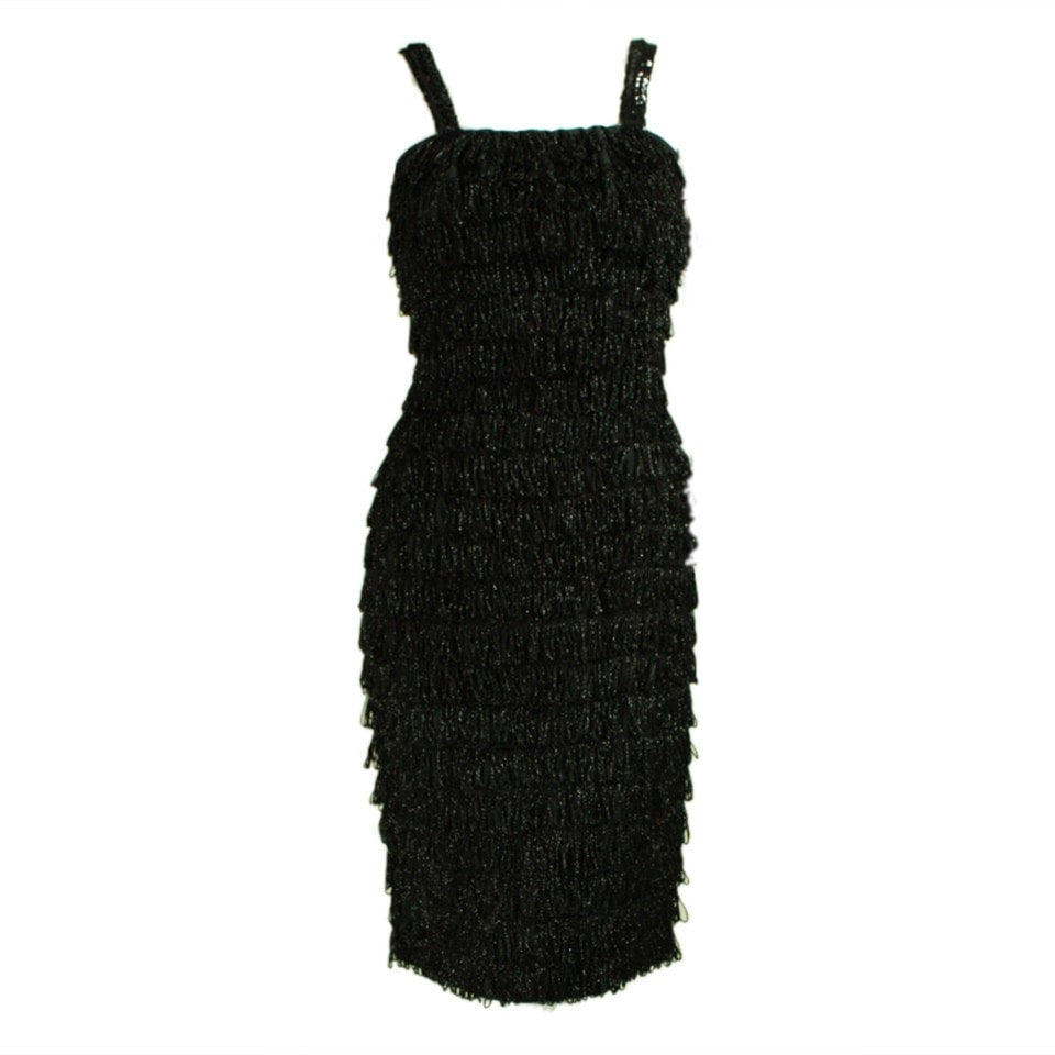 Vintage Dresses: 1960's Black Looped Fringed Dress