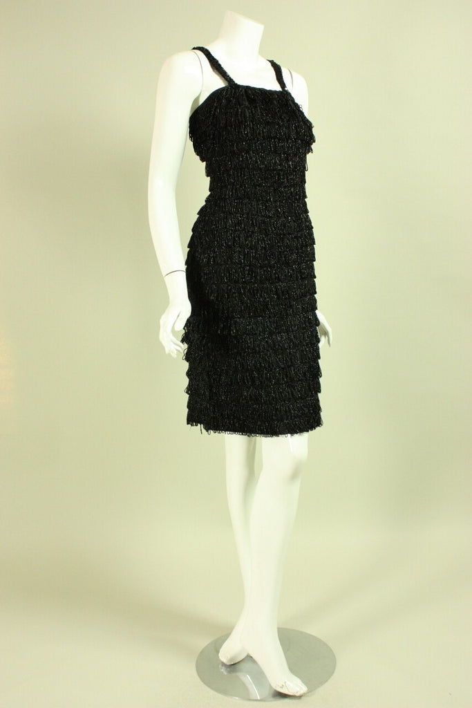 1960's Dress Black Looped Fringed Vintage - regenerationvintageclothing
