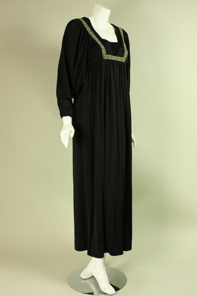 Vintage 1970's Maxi Dress Caftan Black Jersey
