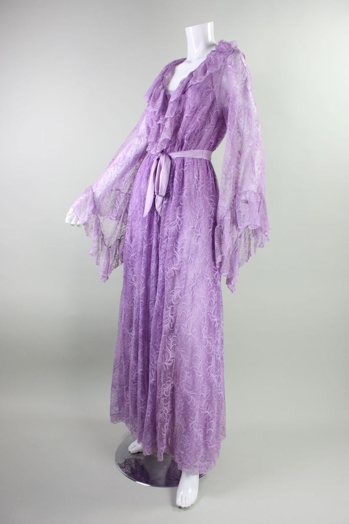 Bob Mackie Peignoir Set 1980's for Glydons Lilac Lace Vintage - regenerationvintageclothing