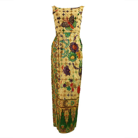 Vintage Dresses: 1950's Batik Sequined & Beaded Dress