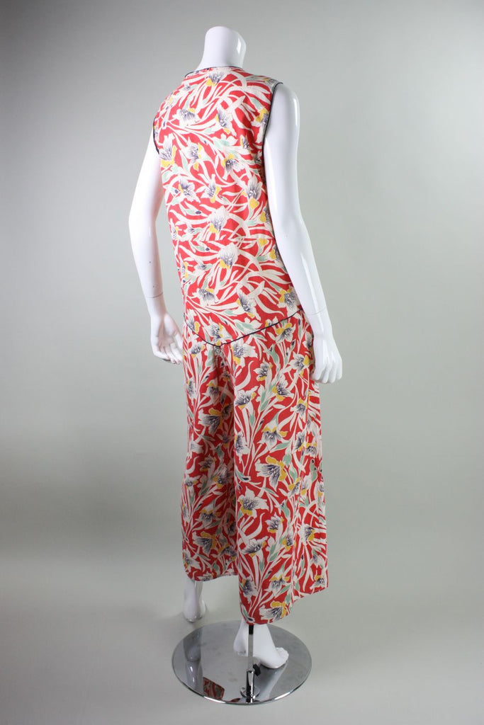 1930's Beach Pajamas Cotton with Art Deco Floral Print Vintage - regenerationvintageclothing