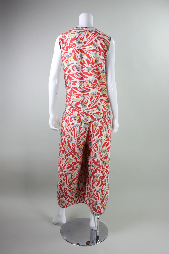 a1fba623a0 1930 s Beach Pajamas Cotton with Art Deco Floral Print Vintage