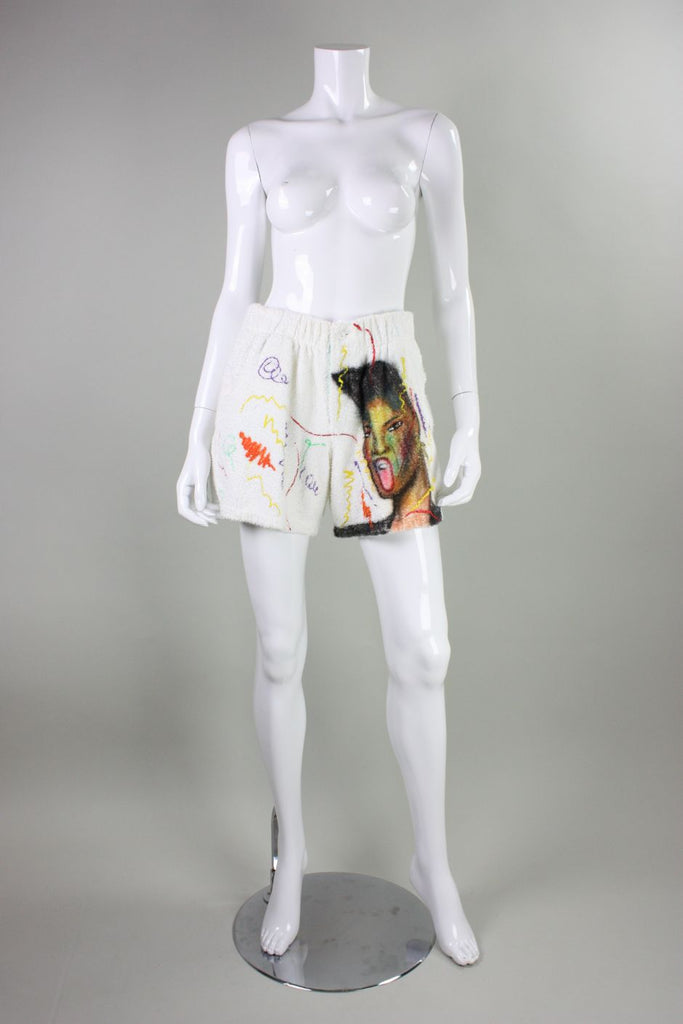 1980's Shorts Hand-Painted Grace Jones Terrycloth Vintage - regenerationvintageclothing