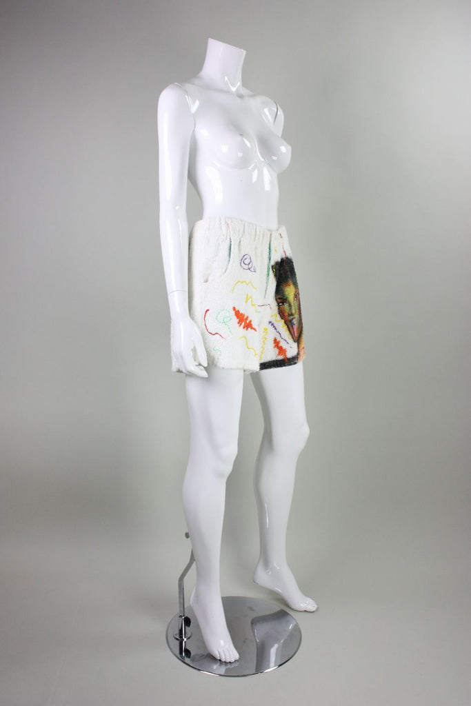 1980's Hand-Painted Grace Jones Terrycloth Shorts