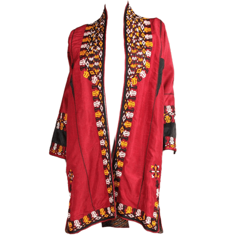 Turkman Robe Red Silk with Embroidery Vintage - regenerationvintageclothing