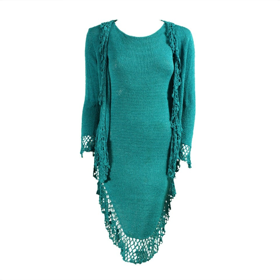 Vintage Dresses: 1970's Turquoise Knit Dress