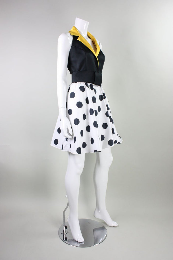 1980's Dress Kathryn Conover Polka-Dotted Halter Vintage