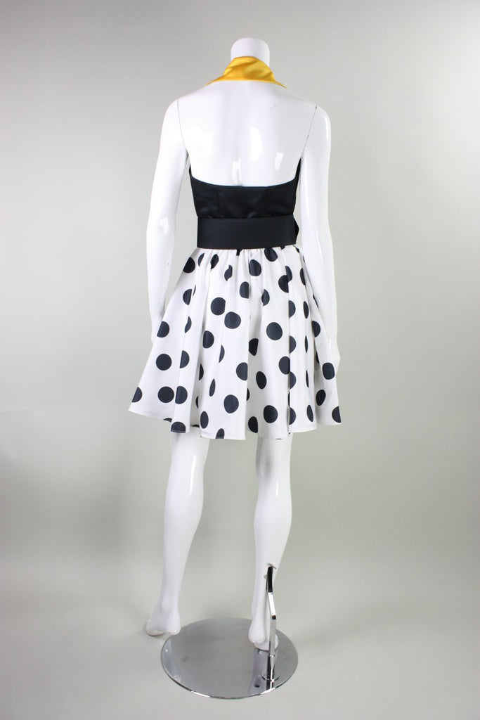1980's Dress Kathryn Conover Polka-Dotted Halter Vintage - regenerationvintageclothing