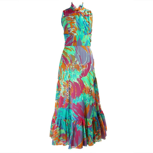 Vintage Dresses: 1970's Chiffon Gown with Painterly Print