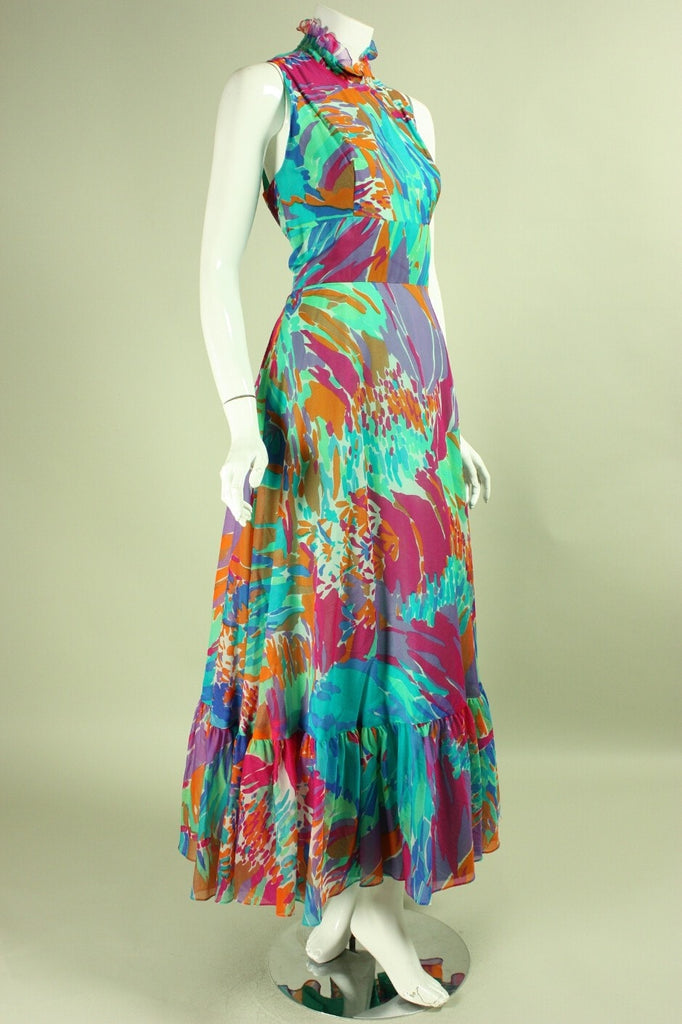 Vintage 1970's Chiffon Gown with Painterly Print