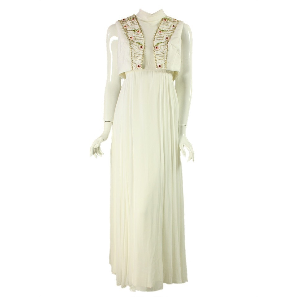 Vintage Clothing: 1960's White Chiffon Beaded Gown with Bolero