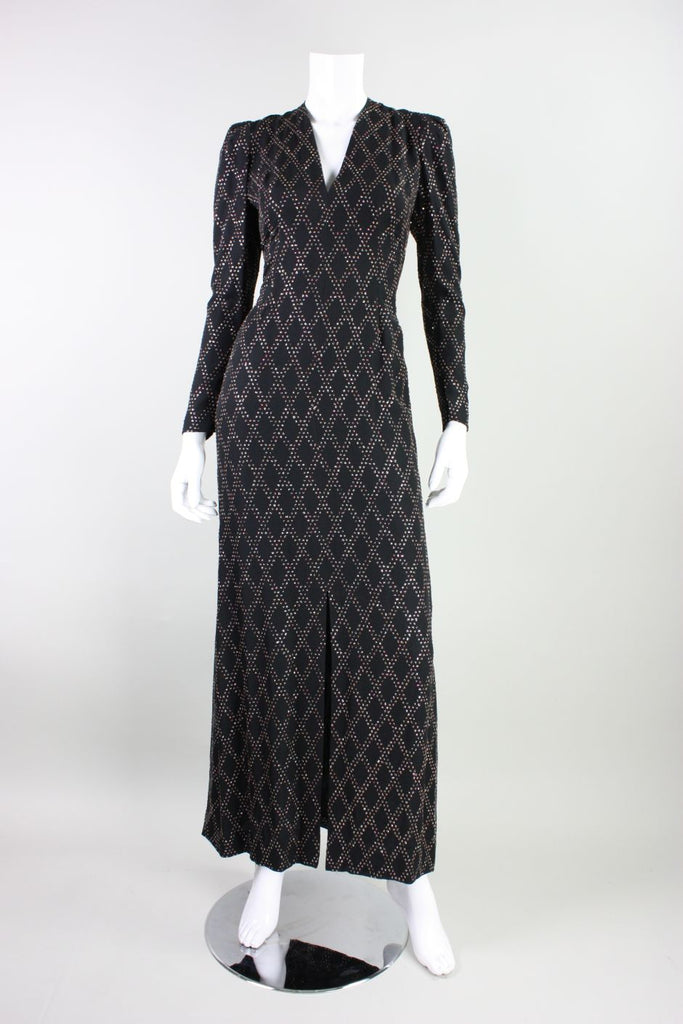 1970's Black Silk Chiffon Gown with Glitter Pattern