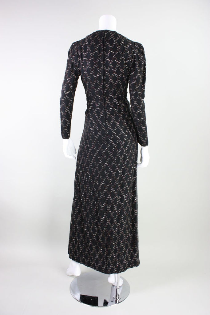 1970's Gown Black Silk Chiffon with Glitter Pattern Vintage - regenerationvintageclothing