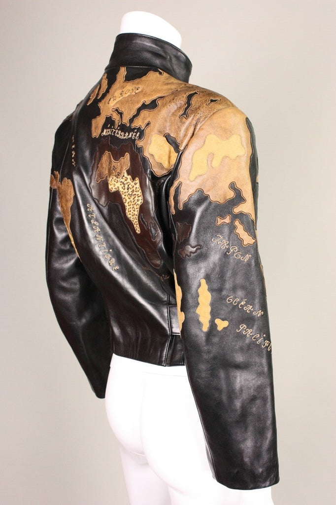 Jean-Claude Jitrois Jacket 1990's World Map Leather Vintage - regenerationvintageclothing