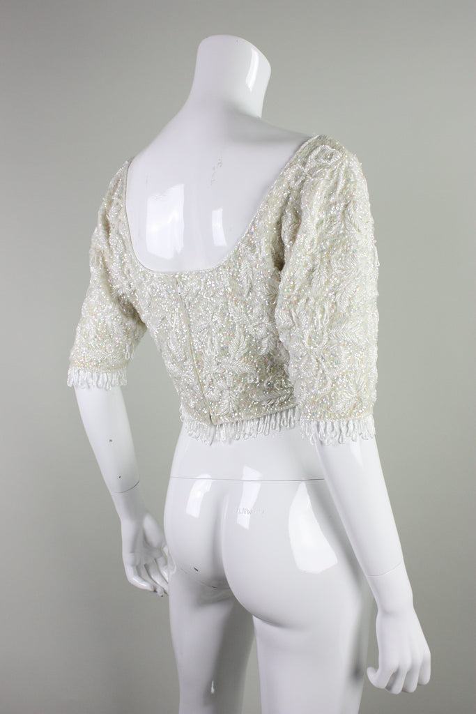 1950's Sweater Jo-Ro Imports Fully Beaded & Sequined Cropped Vintage - regenerationvintageclothing