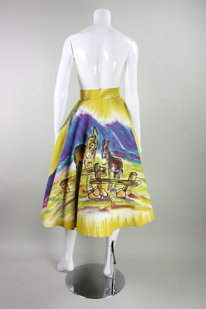 1950's Painted Mexican Circle Skirt with Burro Motif Vintage