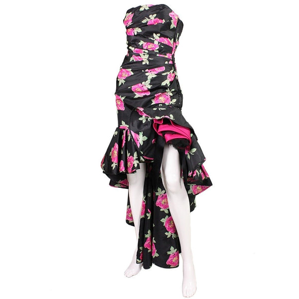 Ungaro Evening Dress 1980's Floral Vintage - regenerationvintageclothing