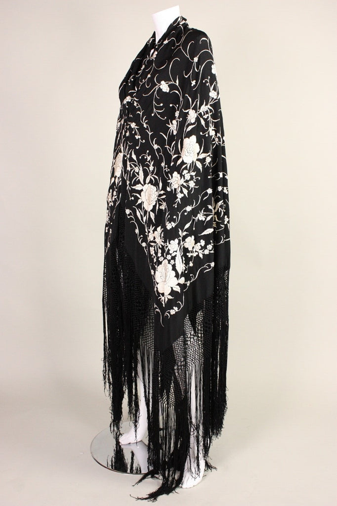 Vintage 1920's Black Piano Shawl