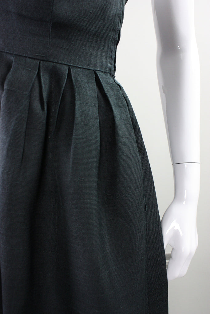 Vintage 1960's Christian Dior Black Gown with Zigzag Detail