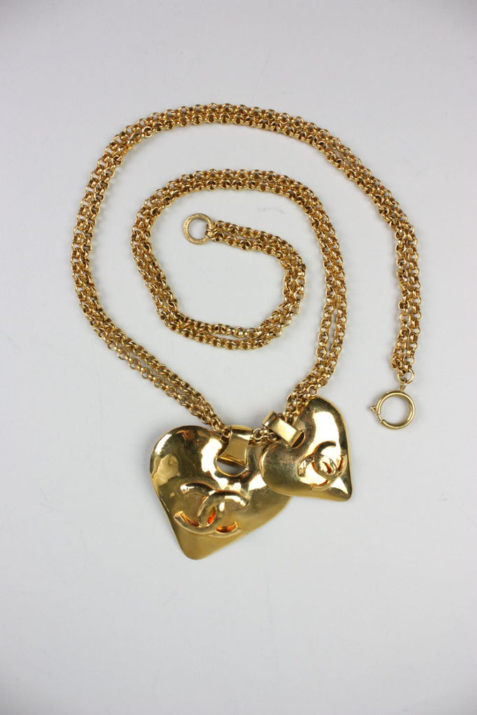 Chanel Necklace Gold Toned with Hearts - regenerationvintageclothing