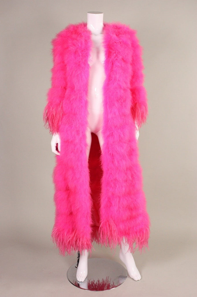 1970's Coat Full-Length Hot Pink Marabou with Ostrich Feather Trim Vintage - regenerationvintageclothing