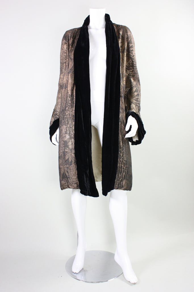1920's Coat Art Deco Gold Lamé with Velvet Trim Vintage - regenerationvintageclothing