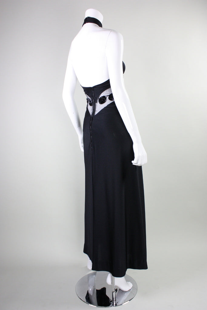 Vintage 1970 s Loris Azzaro Halter Gown with Transparent Insert 3a9df99ec