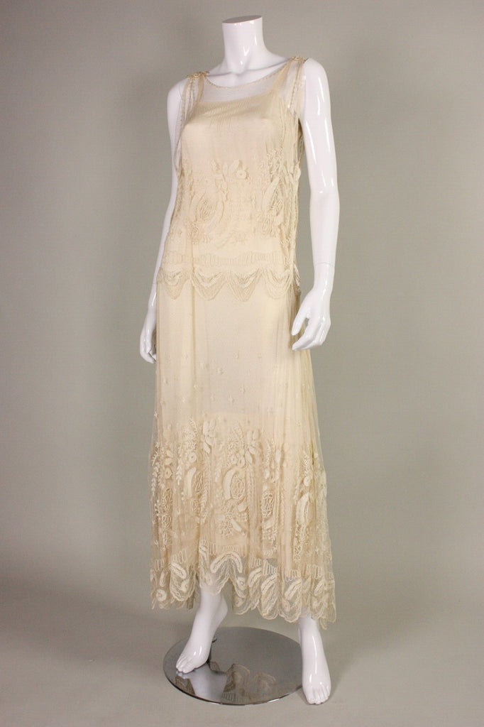 Edwardian Dress Cream Net with Embroidery Vintage - regenerationvintageclothing