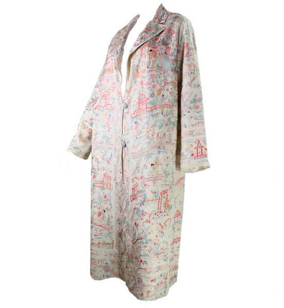 1930's Coat Chinese Export with Hand-Embroidery Vintage - regenerationvintageclothing