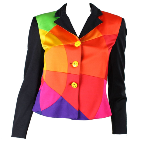 Moschino Jacket 1990's Color Wheel with Smiley Face Buttons Vintage - regenerationvintageclothing