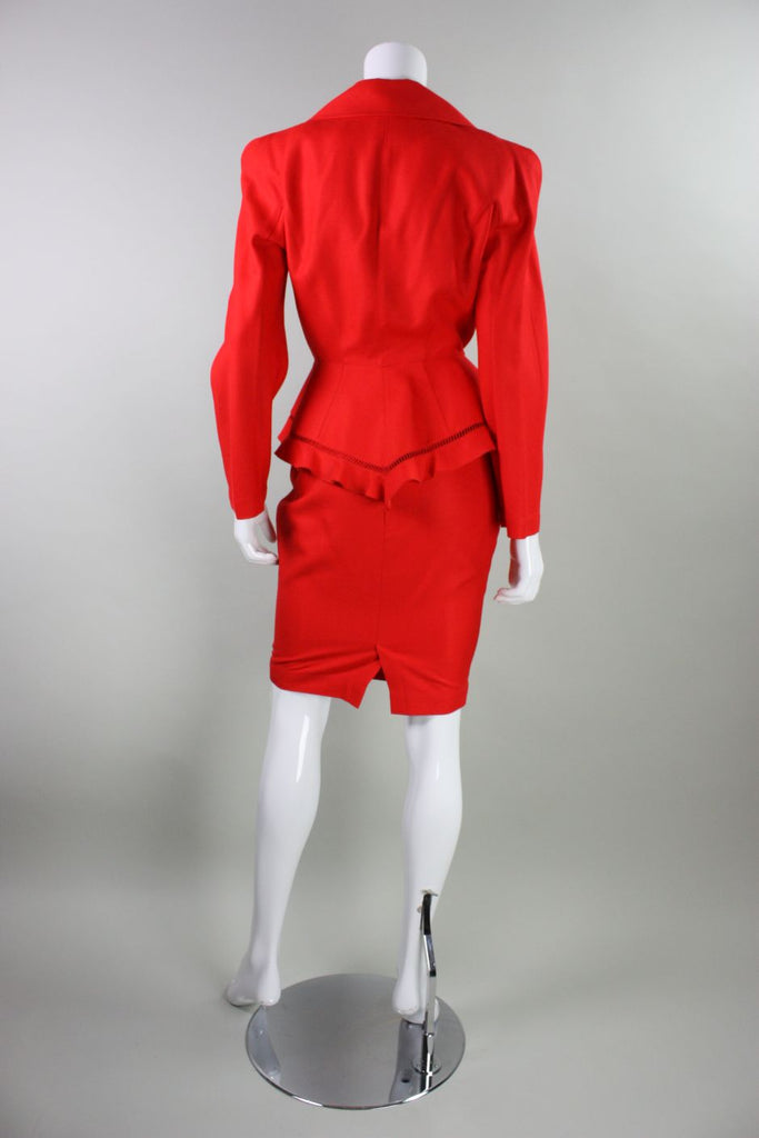 Thierry Mugler Skirt Suit 1990's Red with Ruffles & Openwork Vintage - regenerationvintageclothing
