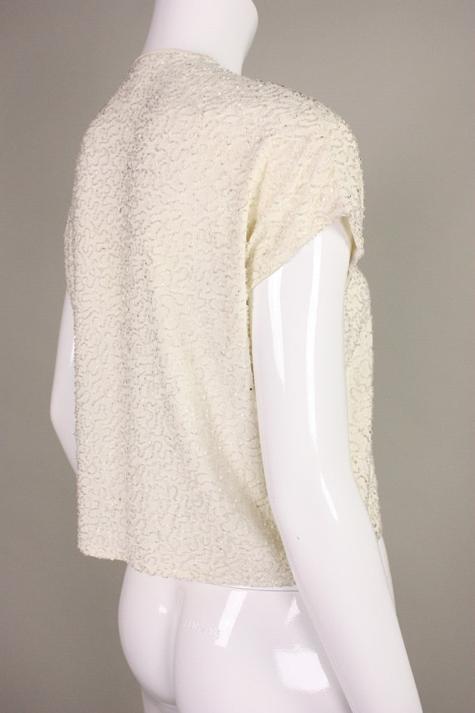1940's Jacket Beaded Cream Vintage - regenerationvintageclothing