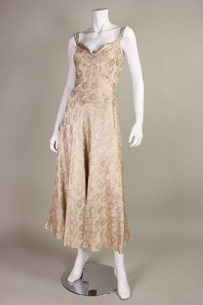1930's Dress Lamé Bias-Cut Evening Gown Vintage - regenerationvintageclothing