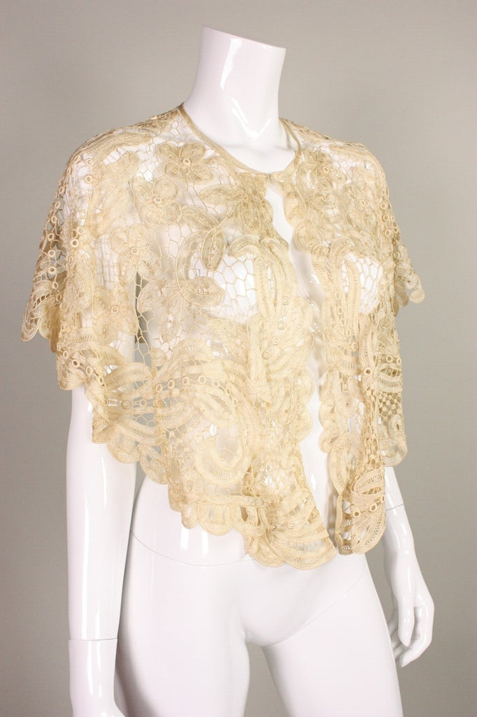 Edwardian Capelet Battenburg Lace Vintage - regenerationvintageclothing
