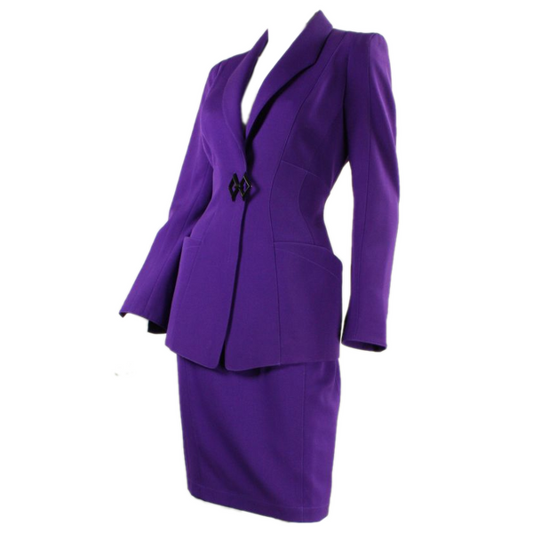 Thierry Mugler Skirt Suit 1990's Purple Vintage - regenerationvintageclothing