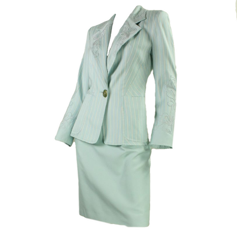 Christian Lacroix Skirt Suit 1990's Light Blue Vintage - regenerationvintageclothing